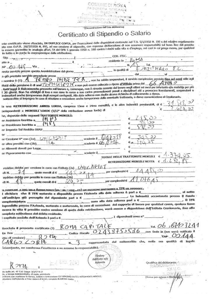 Certificato di Stipendio Dipendente Comunale