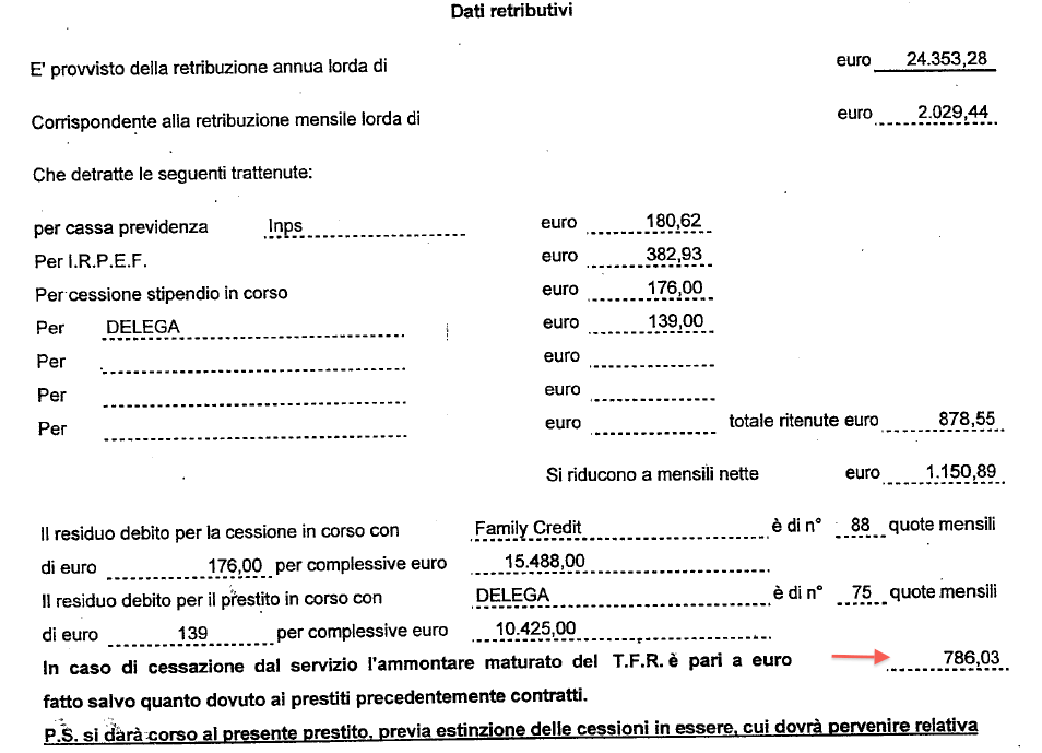 certificato stipendio Ama Spa