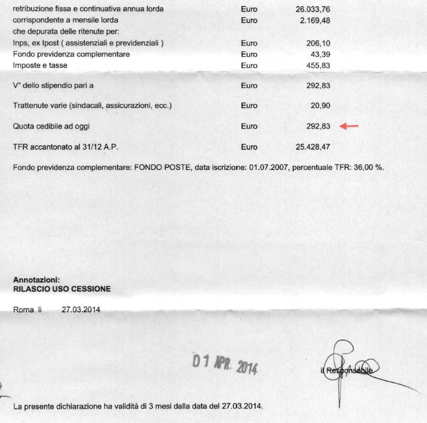certificato di stipendio Poste Italiane